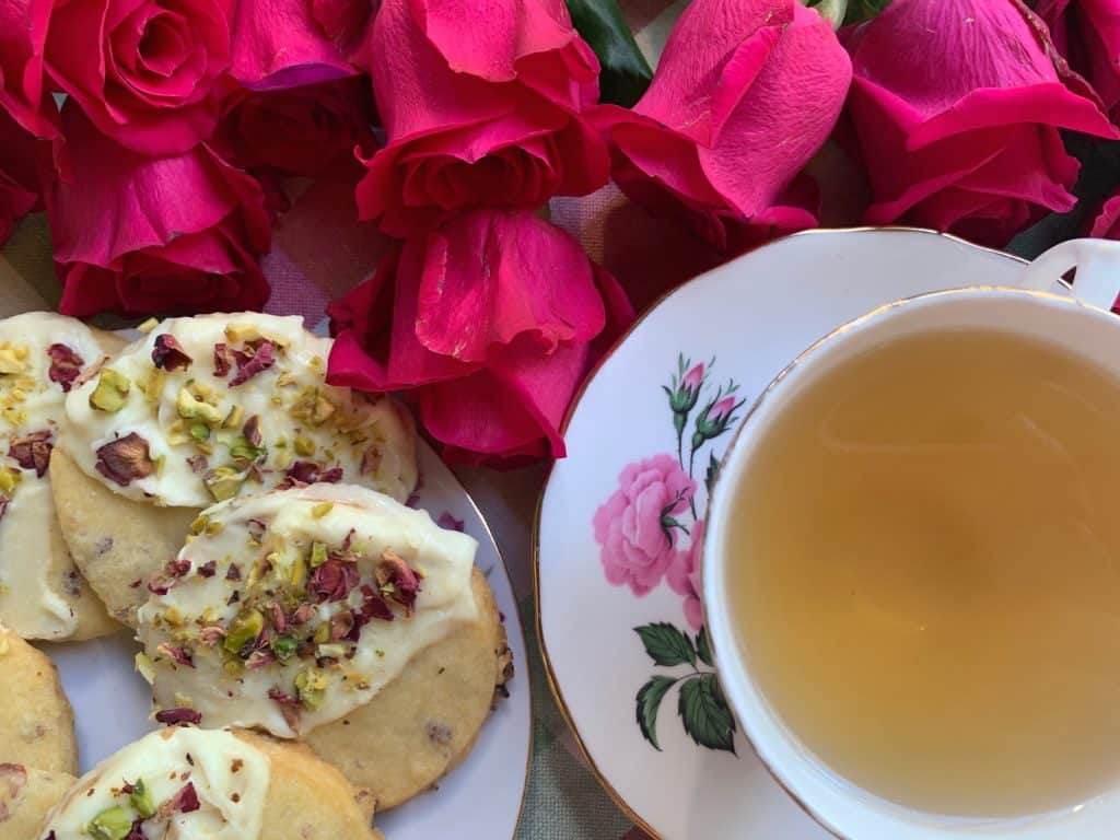 Posy of Roses tea and biscuits